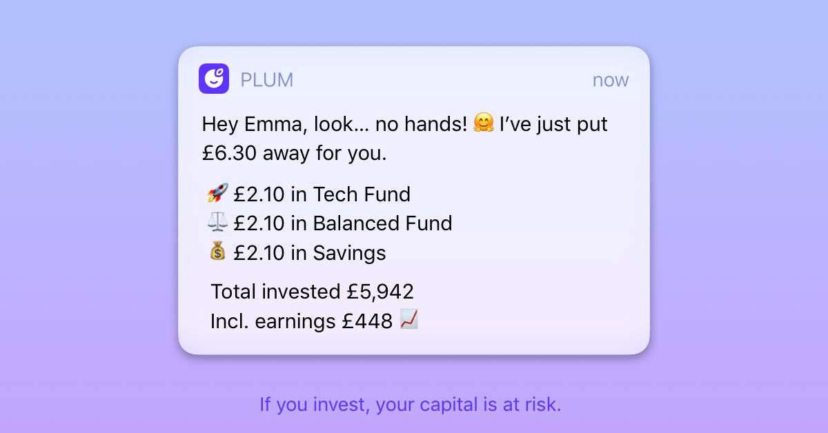 a screen shot shows Plum savings notification