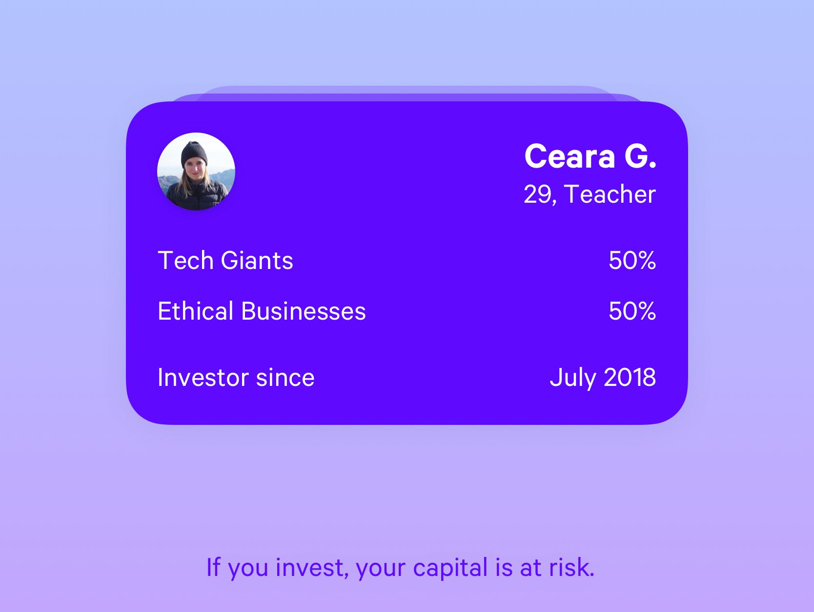 A profile card shows a Plum user with their choice of investment funds