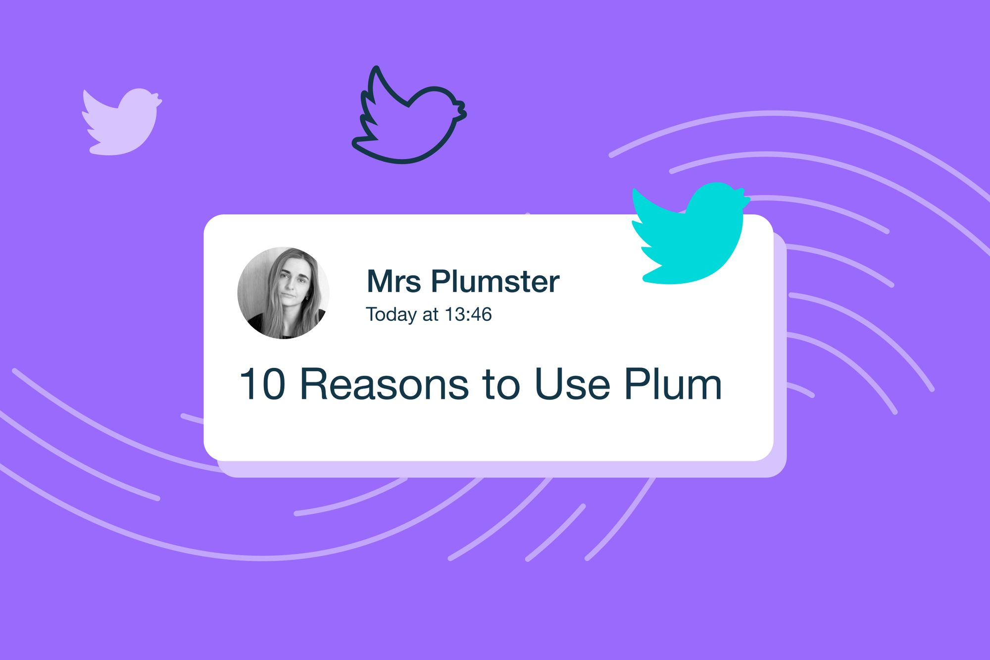 a mock twitter card shows the 10 reasons to use Plum