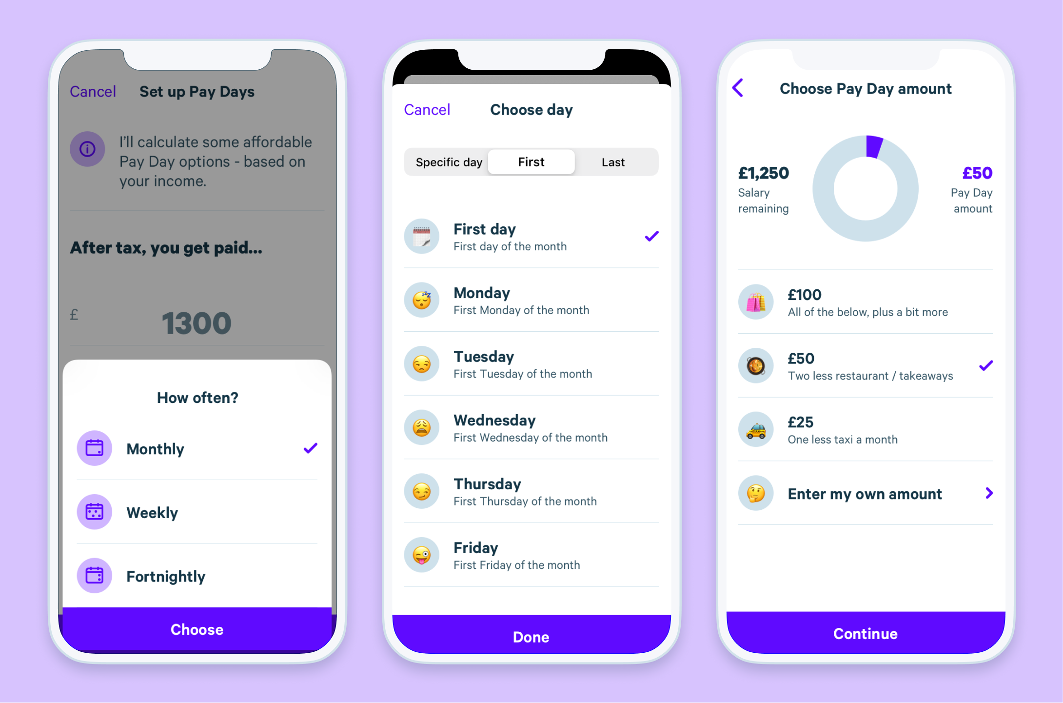 App UI shows Plum's Pay Days saving rule