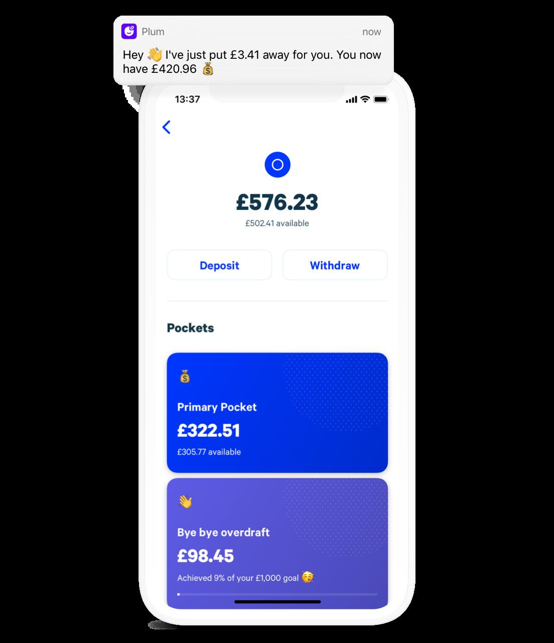 Plum app main homescreen with savings